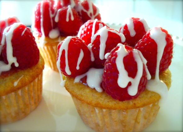 Vanilla Cupcakes with Fresh Raspberries