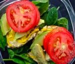 Hummus, Avocado, Tomato, and Baby Spinach Salad
