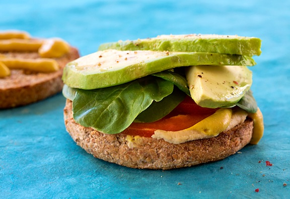 Hummus, Avocado, Tomato, and Baby Spinach Sandwich