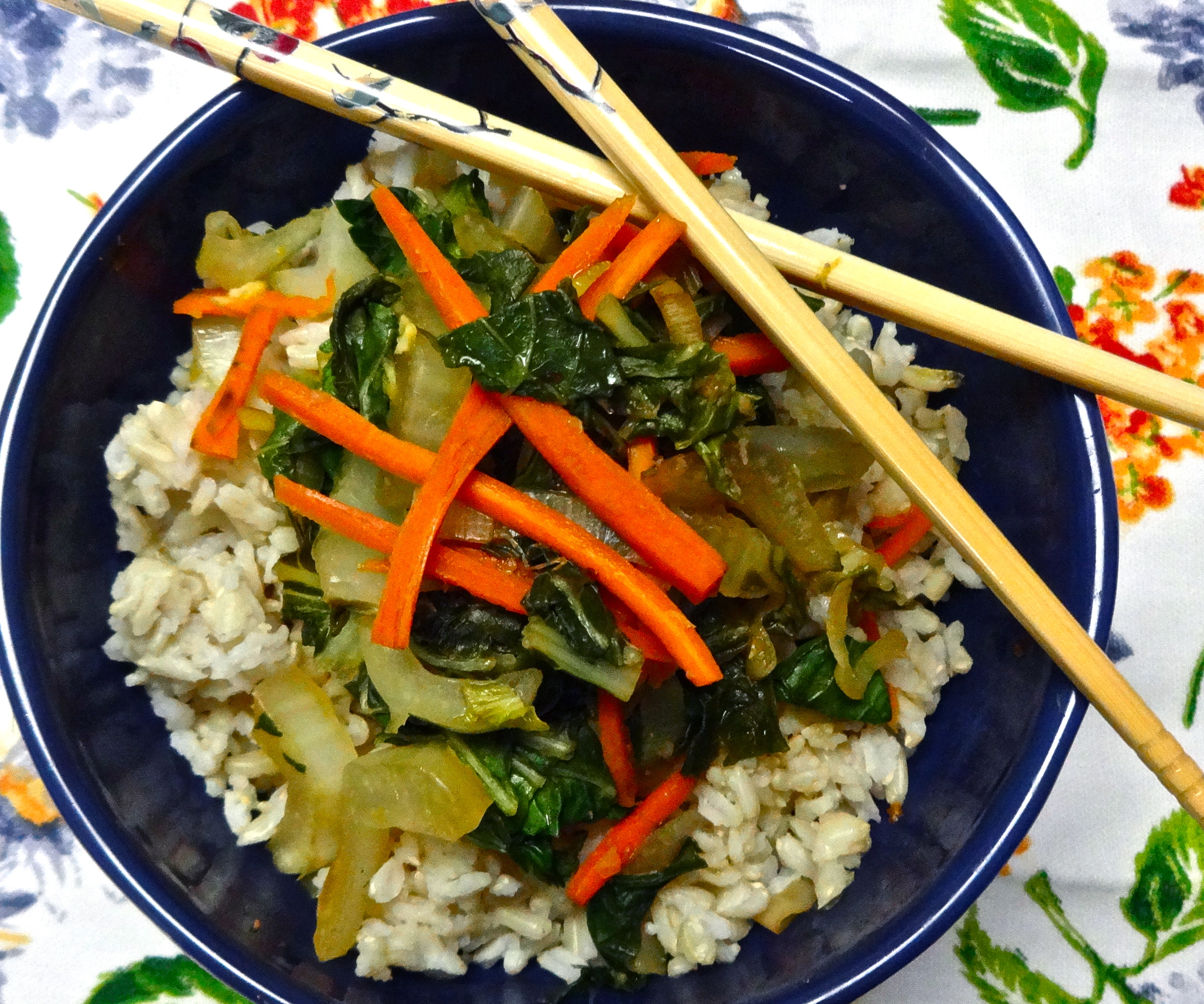 Ginger Baby Bok Choy Stir Fry with Spicy Tofu