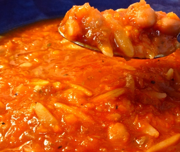Spicy Tomato Soup with Orzo