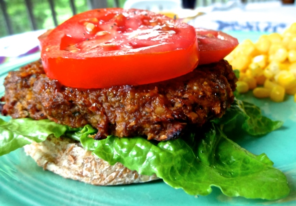 Tempeh Burgers with Zucchini, Tomato, and Basil