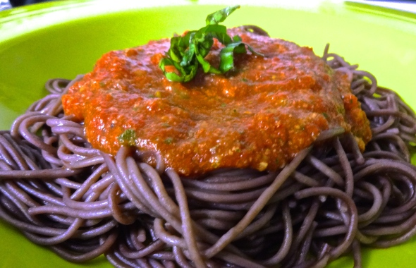 Easy Veggie Marinara over Red Wine Pasta