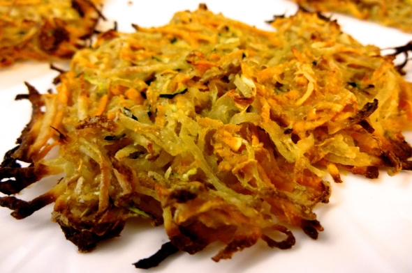 Baked Potato, Sweet Potato, and Zucchini Latkes
