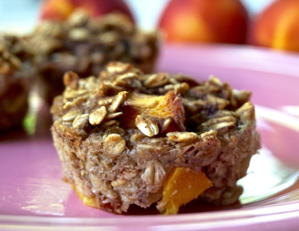 Fresh Peach Oatmeal Muffin Cups