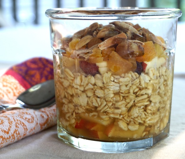Overnight Oats with Apples, Apricots, and Almonds