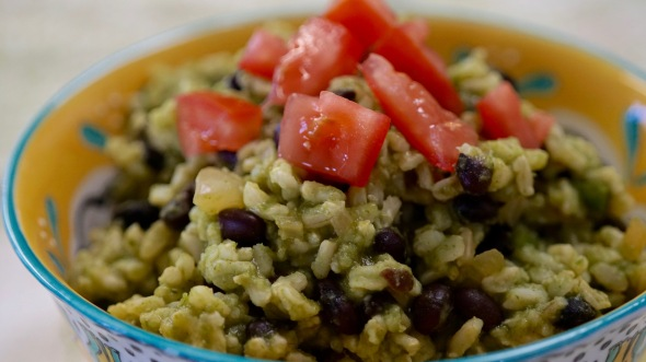 Brown Rice and Black Beans in Homemade Green Salsa with Cilantro and Lime