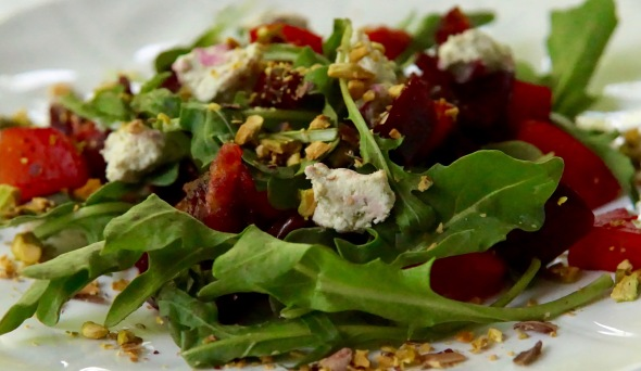Arugula and Roasted Beet Salad with Cream Cheese, Dates, and Raw Pistachios
