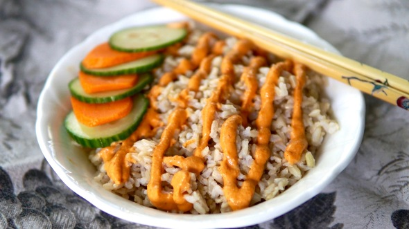 Brown Rice Bowl with Smoky Roasted Red Pepper Cashew CreamSauce