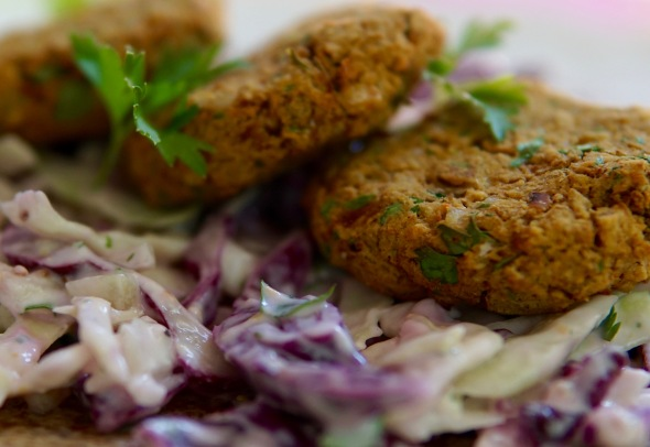 Oil-Free Air-Baked Falafel with Tzatziki Slaw