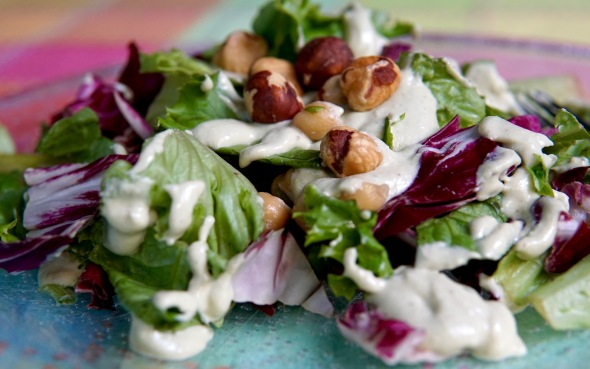 Simple Salad with Radicchio, Hazelnuts, and Vegan Buttermilk Ranch Dressing