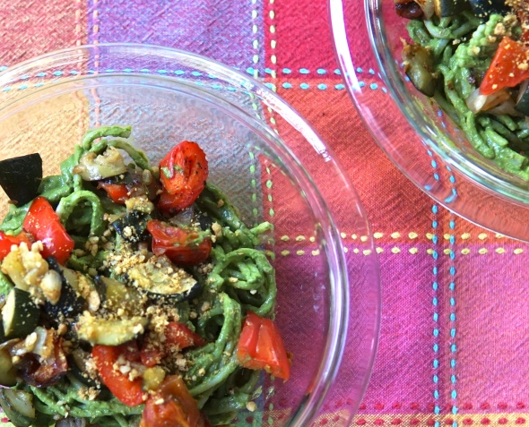 Roasted Mediterranean Vegetables with Arugula Pesto Pasta