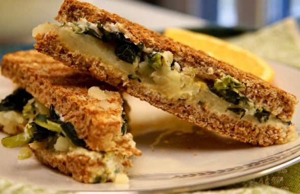Breakfast Panini with Potatoes and Greens