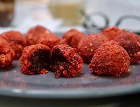Raspberry-Dusted Cocoa CaramelTruffles