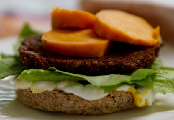 Grand Slam Tempeh Burgers with Spinach and Sweet Potatoes